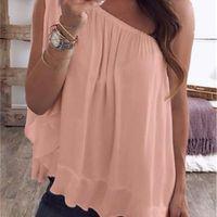 Mujeres de verano tshirts Color sólido de las señoras de los hombros Tops ocasionales Tops Casual Tamaño Tamaño Ropa para mujer Color de caramelo suelto