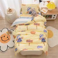 Bedding Sets 3 Pcs Cartoon Pattern Set For Baby Borns Cradle Crib Bumper Infant Bed Washable Duvet Cover Fitted Sheet