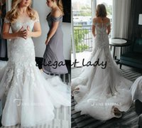 Modest Mermaid Wedding Dresses Sweep Train Off the Shoulder Lace Appliques Elegant Country Bridal Gowns Button Back Plus Size Wedding Dress