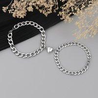 Charm Bracelets 2 Pcs Punk Friend Bracelet For Women Aesthetic Armband Silver Color Couple Wrist Cuban Link Chain Schmuck Gift