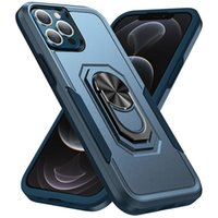Kickstand Phone Cases For Iphone 13 Pro Max Mini 12 11 XSMAX XR XS X 8 7 6 SE Dual Color Magnetic Car Holder Case Hybrid PC TPU 2 IN 1 Protective Back Cover