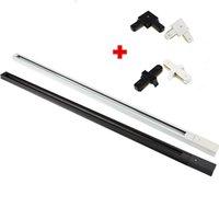 10pcs LED 트랙 레일 라이트 피팅 알루미늄 1 미터 2 와이어 커넥터 시스템 트랙기구 1M 검정색 화이트 범용 레일 조명