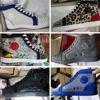 2021 مصمم فاخر أحذية عالية أعلى المسامير أحذية رياضية جلد طبيعي أسفل أحذية رياضية الرجال المدربين الأزياء عارضة الأحذية مع صندوق SZ US 13