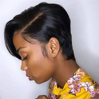 Short Straight Lace Wigs T Part 13*4*1 Peruvian Human Hair 130% Density Glueless Natural Hairline