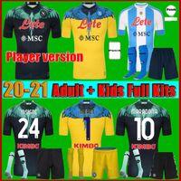 الرجال + Kids Kit 20 21 Napoli Maradona Soccer Jersey Home 2122 نابولي Zielinski Insigne Mertens Hamsik Callejon Player Rog Football Shirt Boca Juniors Carlitos