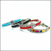 Bracelets de charme Bijoux AB0059 Colorf Colorf Sier Perles de verre Feather Part Bracelet Fit Boutons 18mm Snap Bijoux Drop Drop Drop Drop Drop 2021 TZ892