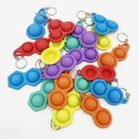 Bubble Poppers Push Keychain Kids Adults Novel Fidget Toy Bag Pendants Keychains Hangings Soft Squeeze Silicone Key Ring DHL FREE