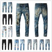 New Mens Fashion Skinny Dritto Slim Slim Slims Jeans Uomo Moda Mens Street Wear Motorcycle Biker Jeans Jeans Jeans Jeans