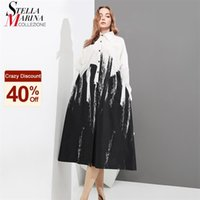 Painting Style Woman Summer Long Sleeve Black And White Printed Shirt Dress Tie Dye Plus Size Midi Casual Dress Robe Femme 3400 210915
