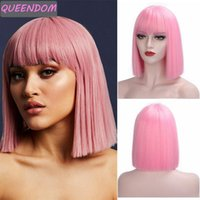 Synthetic Wigs 12 Inch Short Bob Wig For Women Pink Blue Straight Lolita With Bangs Natural Heat Resistant Daily Cosplay