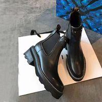 Mode-Designer Kurze Martin-Stiefel Frauen Herbst- und Winter-dick-the-terselierte flachboden hohe Qualitäts-Leder-All-Match-Büro-Schuhe