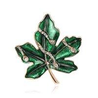 Versione coreana Semplice piccola piccola fresca intarsiata diamante foglie di foglie verdi in lega di alta qualità smalto goccia spilla