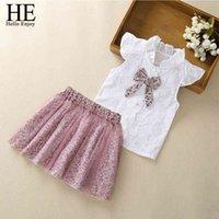 Hola, disfrute de ropa de ropa de bebé 2020 ropa de verano para niños moda chicas bowknot camisa + falda de malla trajes para niños 1-8y lj200819