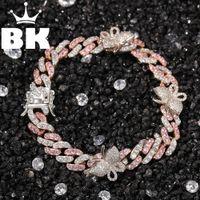 Hip Hop Copper 9mm Micro Pave CZ Cuban Link Bracelet with Small Butterfly 9inch ankle Punk Miami Bracelet accept custom color