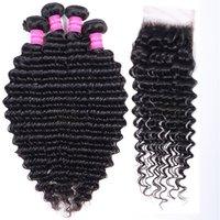 Unprocessed Virgin Human Hair Bundles Weaves Deep Brazilian Indian Peruvian Weft Extensions with closure 4x4 4 Bundles