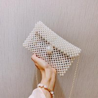 Hand-woven Pearl Bags Lady Beaded Shoulder Bag Handbag Flap Bag Mini Crossbody Vintage Handbag Cross Body V9ld#