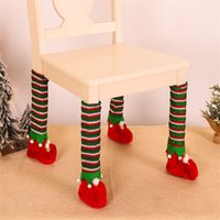 Newest Christmas Stripe Table Foot Cover Elves Chair Legs Covers Creative Scene Props Xmas Indoor Home Decoration