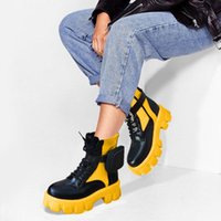 부츠 브랜드 디자인 숙 녀 chunky 발 뒤꿈치 패션 유행 작은 가방 발목 여자 2021 파티 혼합 색상 플랫폼 신발 여성