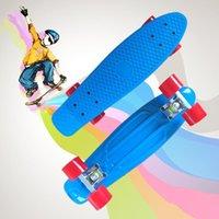Niños 22 '' Monopatín del tablero de pescado con ruedas de colores LED parpadeando niños Niñas Chicas Longboard Skate Boards Skateboarding