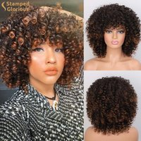 Synthetic Wigs Stamped Glorious Short Afro Kinky Curly Wig For Women Black Brown Blonde Pink Natural High Temperature Hair