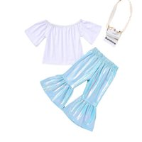 Clothing Sets Girls Outfits Baby Clothes Suits Children Summer Cotton Short Sleeve T-shirts Flared Trousers Pants 2Pcs 2-6Y B5444