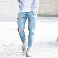 Vogue Erkek Kot Moda Denim Pamuk Düz Delik Pantolon Sıkıntılı Streetwear Jeans Uzun Pant1