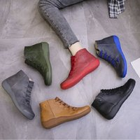 Autumn winter New Women Ankle Boots Knitting wool Flat bottom Martin Fashion casual shoes Waterproof leather Adding cotton Keep warm size EUR35-42 XM337
