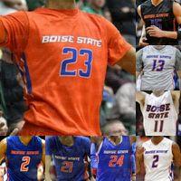 Пользовательские штаты Boise Broncos Баскетбольная майки Деррик Альстон Джастин Джессап RJ Williams Kigab Hobbs Hutchison Emmanuel Doutrive Smith Shaver Jr.