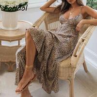 Casual Dresses Foridol-vestido feminino de verão, elegante, com costas abertas, sem mangas, estampa leopardo, maxi, boho, praia, para mulheres ZK9Z