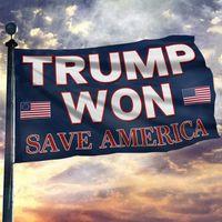 Trump Won - Save America Flag 90 * 150cm Banner para apoyar a Trump American Street Decoration GWE9729