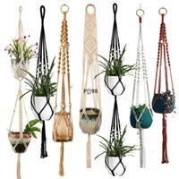 Macrame Plant Hanger Indoor Hanging Planter Basket with Wood Beads Decorative Flower Pot Holder No Tassels for Indoor Outdoor LLF10966