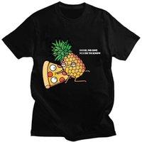 Мужская одежда 2021 ананасовый пиццей пиццей фрукты напечатаны смешные эстетические рубашки отдых с коротким рукавом O-образным вырезом т стрит-рубашки графические тройники мужские футболки