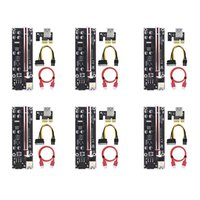 PPYY-6Pack VER009S Plus PCI-E Riser Card PCI Express 1X To 16X Adapter With USB 3.0 Cable SATA 6Pin Power For Mining Computer Cables & Conne
