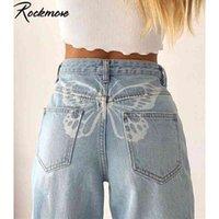 ROCKMORE Butterfly Print Высокая талия женские джинсы свободные широкие брюки ноги Y2K мама парень джинсовые капри прямые брюки негабаритны
