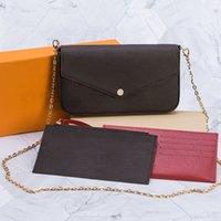 Высокое качество 3шт набор женщин плечо цепи цепи ремешок крест сумки сумки женские женские кошельки кошельки сцепления сумки с коробкой пыли