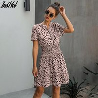 Dress Women Leopard Casual Black Summer Ruffle Mini Dresses Buttons Ladies Purple Waisted Fitted Clothing 2021 Womens Clothes