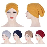Forehead Cross Muslim Turban Solid Color Hair Loss Stretch Cotton Inner Hat For Caps Ready To Wear Women Head Scarf Under Bonnet