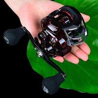Roda de pesca prática pingando 18 + 1 metal balancim carretel engrenagem reel vermelho preto portátil Baitcasting bobinas