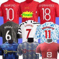 Versione del giocatore 2020 2021 Manchester Soccer Jersey League Finals United Greenwood Cavani Utd van de Beek B. Fernandes Martial Rashford Camicia da calcio 21 22 Kit bambini Kit