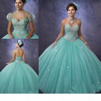 vestidos de 15 anos Quinceanera Dresses with Bolero and Sweetheart Neckline 2019 Cheap Princess Aqua Prom Dresses Tulle Custom Made