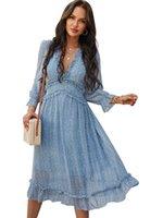 5Color 여성 시폰 롱 드레스 플로랄 프린트 랜턴 슬리브 A 라인 Maxi Vestidos 가을 새로운 우아한 빈티지 V 목 겨울 드레스 030405