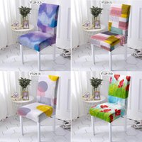 Chair Covers Color Geometric Stripes Dining Chairs Computer Armchair Folding Cushion Cover With Back