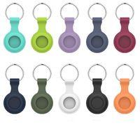 Airtag colorido Casos Soft TPU Silicone Casos de Proteção de Silicone Anti-Perdido Finder Keychain Rastreador Proteja a tampa com fivela resistente a riscos