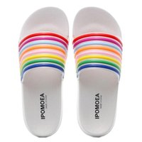 Тапочки Женщины Конфеты Цвет Летние Дамы Beach Sandals Открытый Полоска Слайд-Шида Ванная комната Радуга Размер дома 35-40