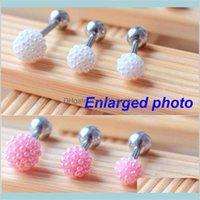 Diseñador rosa blanco Faux Pendientes de perlas para las mujeres Clavo de hueso Barbell Helix Helix Stud Tragus Ear Piercing Joyería Drop Delive