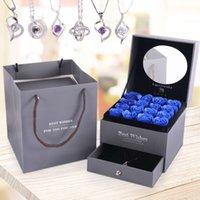 Mutterholzseife Blume doppelt Schmuck Sterling Silber Halskette Schubladenkasten Valentinstag Geschenk