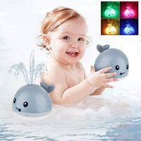 아기 목욕 장난감 스프레이 워터 샤워 수영장 아이들을위한 수영 장난감 밝은 음악과 전기 고래 목욕 공을 led 라이트 장난감 선물 725 x2