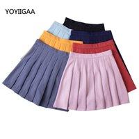 Yaz Rahat Katı Pileli Etekler Moda Kadınlar Etek Yedi Renk Tatlı Kızlar Yüksek Bel A-Line Bayanlar Etek Kadın Giyim Için