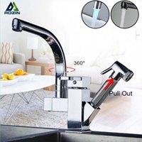 Chrome Tirare fuori il rubinetto del rubinetto della cucina per il bagno Ruota il miscelatore del lavello del lavabo spray