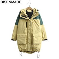 BISENMADE Women's Parkas Winter Warm Oversize New 2021 Loose Down Cotton Coats Hooded Contrast Color Padded Jacket